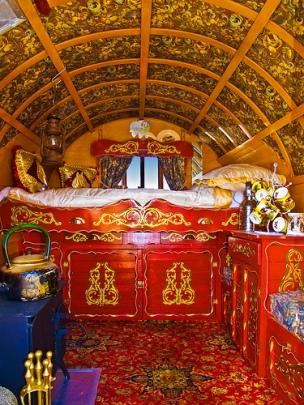 Traditional shepherd's wagon interior