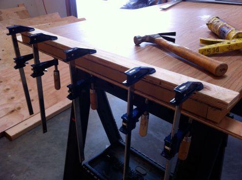 gluing lower door rail