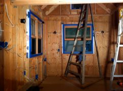A study in blue. Prepping the windows to seal the gaps.