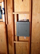 Breaker box installed with added framing.