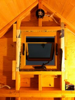 A saddle box installed in the loft peak.